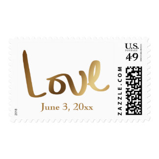 Faux Gold Foil Hand Lettered Love w/ Wedding Date Postage