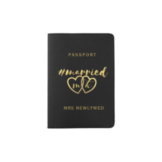 Faux Gold Foil Hashtag Married Passport Holder