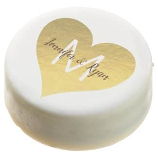 faux gold foil heart wedding bride and groom chocolate covered oreo
