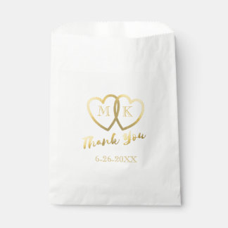 Faux Gold Foil Hearts Thank You Wedding Favor Bag