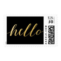 Faux Gold Foil Hello Typography Script Postage