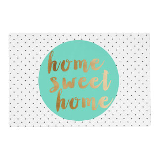 faux gold foil Home Sweet Home polka dots pattern Placemat