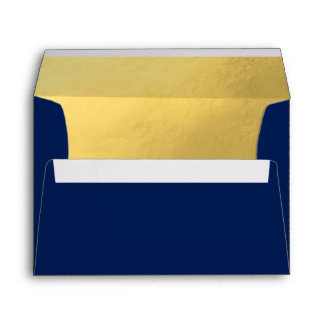 Faux Gold Foil Insert Navy Blue Wedding Envelope