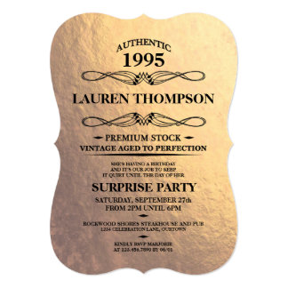 Faux Gold Foil Label Party Invitations