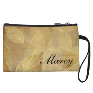Faux Gold Foil Leaves on Parchment, Personalized Wristlet Wallet