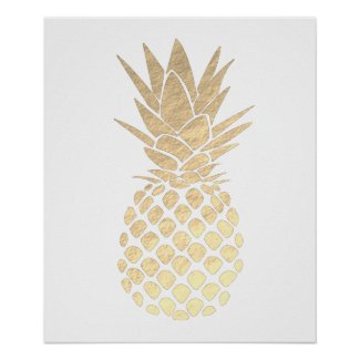 faux gold foil look pineapple poster