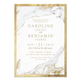 Faux gold foil marble luxury modern wedding invitation