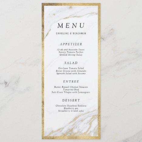 Faux gold foil marble luxury modern wedding menu