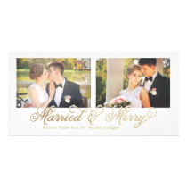 Faux Gold Foil Married & Merry 2-Photo Card