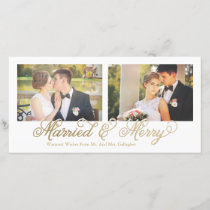 Faux Gold Foil Married & Merry 2-Photo Holiday Card