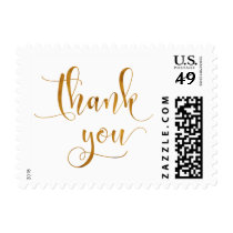 Faux Gold Foil Metallic Typography Thank You (30-) Postage