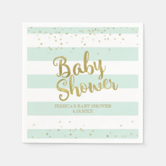 Faux Gold Foil Mint Green Stripes Baby Shower Paper Napkin