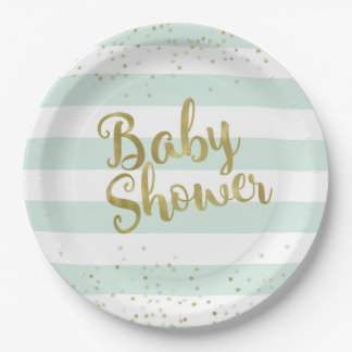 Faux Gold Foil, Mint Green Stripes Baby Shower Paper Plate