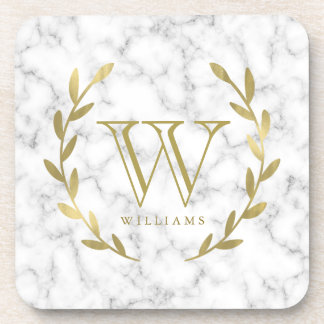 Faux Gold Foil Monogram on Marble Texture Beverage Coaster