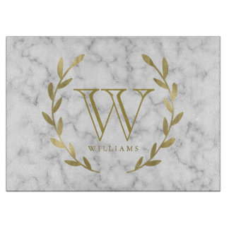 Faux Gold Foil Monogram on Marble Texture Cutting Board