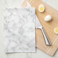 Faux Gold Foil Monogram on Marble Texture Hand Towel