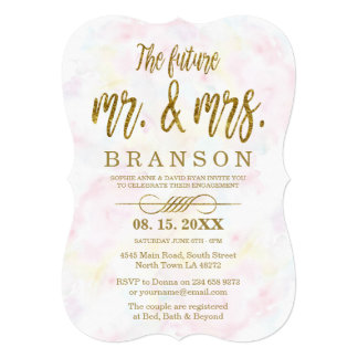 Faux Gold Foil Mr. and Mrs. Typography Engagement Card