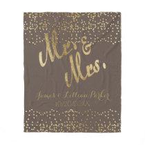 "Faux Gold Foil ""Mr. & Mrs."" Monogram Wedding Fleece Blanket"