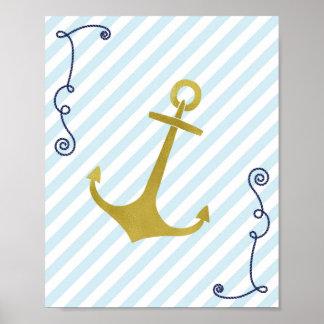 Faux Gold Foil Nautical Anchor Art Print