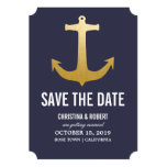 Faux Gold Foil Nautical Anchor Save The Date Card