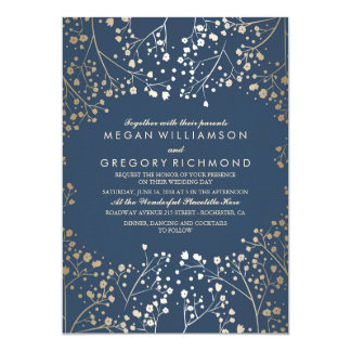 Faux Gold Foil Navy Baby's Breath Wedding 5x7 Paper Invitation Card