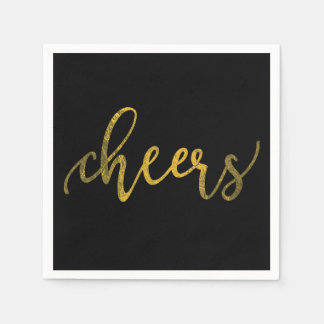 Faux Gold Foil New Year Party - Cheers Paper Napkin