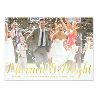 Faux Gold Foil | Newlyweds Holiday Photo Card