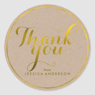 Faux Gold Foil Personalized Thank You Classic Round Sticker