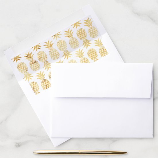 Faux Gold Foil Pineapple Pattern Envelope Liner