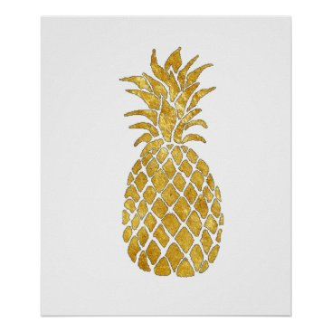 Art Themed faux gold foil pineapple poster
