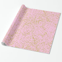 Faux Gold Foil Pink Background Sprinkle Glitter Wrapping Paper