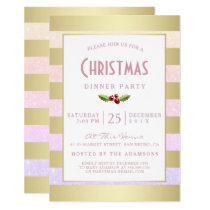 Faux Gold Foil & Pink Girly Glitter Christmas Invitation