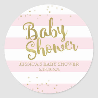 Faux Gold Foil Pink Stripes Baby Shower Girl Favor Classic Round Sticker