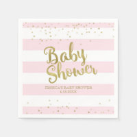 Faux Gold Foil, Pink Stripes Baby Shower Girl Napkin
