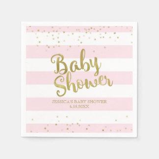 Faux Gold Foil, Pink Stripes Baby Shower Girl Napkin