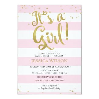 Faux Gold Foil Pink Stripes Baby Shower Its a Girl Card