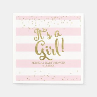 Faux Gold Foil Pink Stripes Baby Shower Its A Girl Napkin at Zazzle