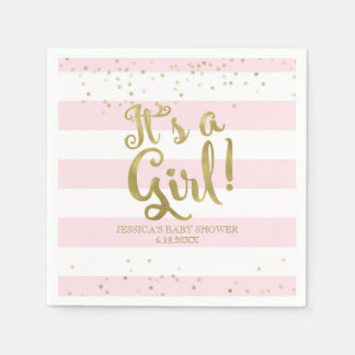 Faux Gold Foil Pink Stripes Baby Shower Its a Girl Napkin