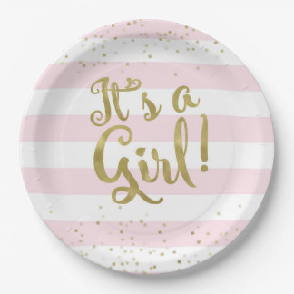 Faux Gold Foil Pink Stripes Baby Shower Its a Girl Paper Plate