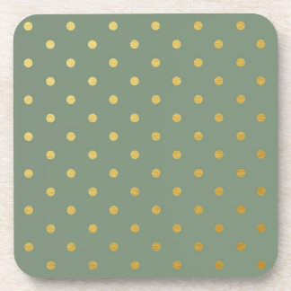 Faux Gold Foil Polka Dots Modern Moss Green Drink Coaster