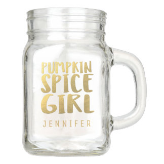 Faux Gold Foil Pumpkin Spice Girl Name Mason Jar