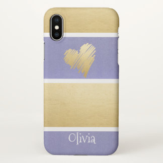 Faux Gold Foil Purple Stripes Heart Personalized iPhone X Case