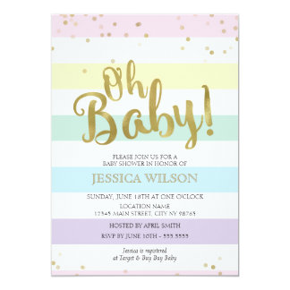 Faux Gold Foil Rainbow Stripes Oh Baby Shower Card