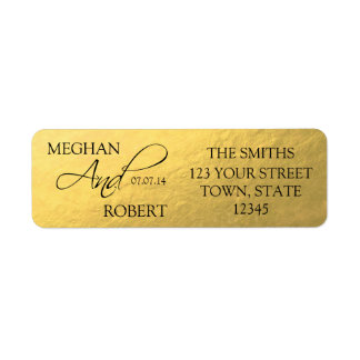 Faux Gold Foil Save the Date Bride Groom Adress Label