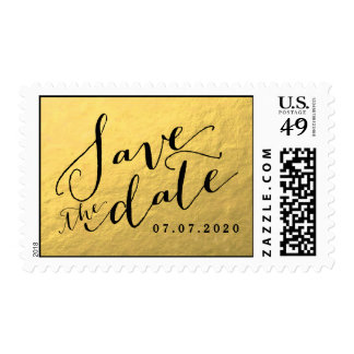 Faux Gold Foil Save the Date Postage Stamps