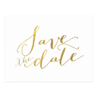 Faux Gold Foil Save the Date Postcard
