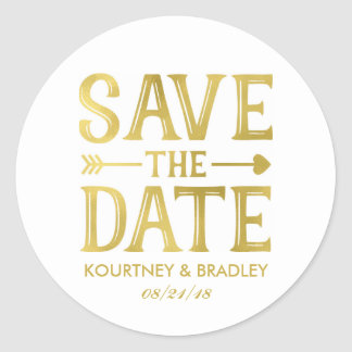 FAUX GOLD FOIL SAVE THE DATE | VINTAGE HEART ARROW CLASSIC ROUND STICKER