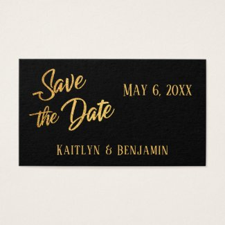 Faux Gold Foil, Save the Date Wedding Detail Card
