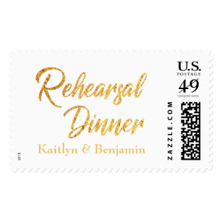Faux Gold Foil Save the Date with Names over White Postage