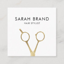 Faux Gold Foil Scissors Hair Stylist Square Business Card